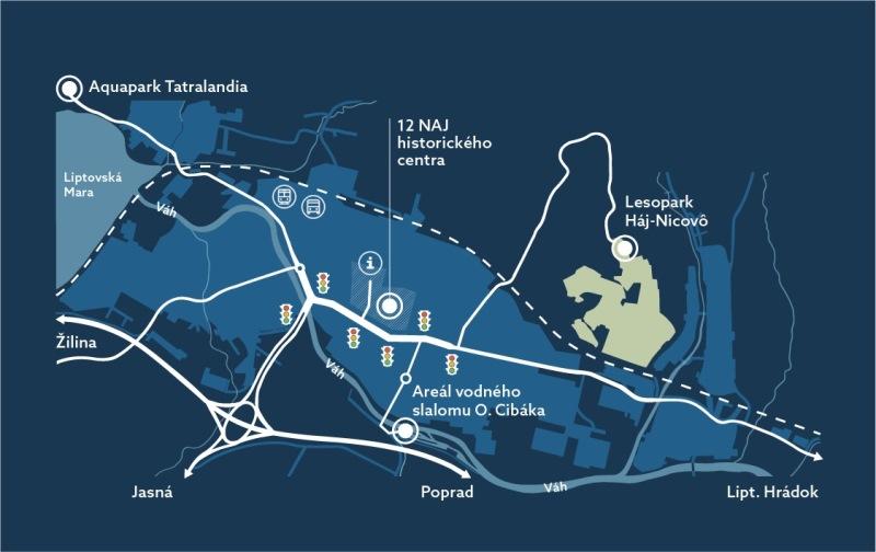 Schematická mapa mesta Liptovský Mikuláš