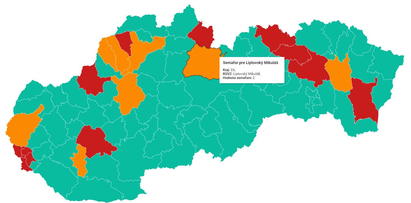 COVID-19: Mesto Liptovský Mikuláš vstupuje do semafóru s oranžovou farbou